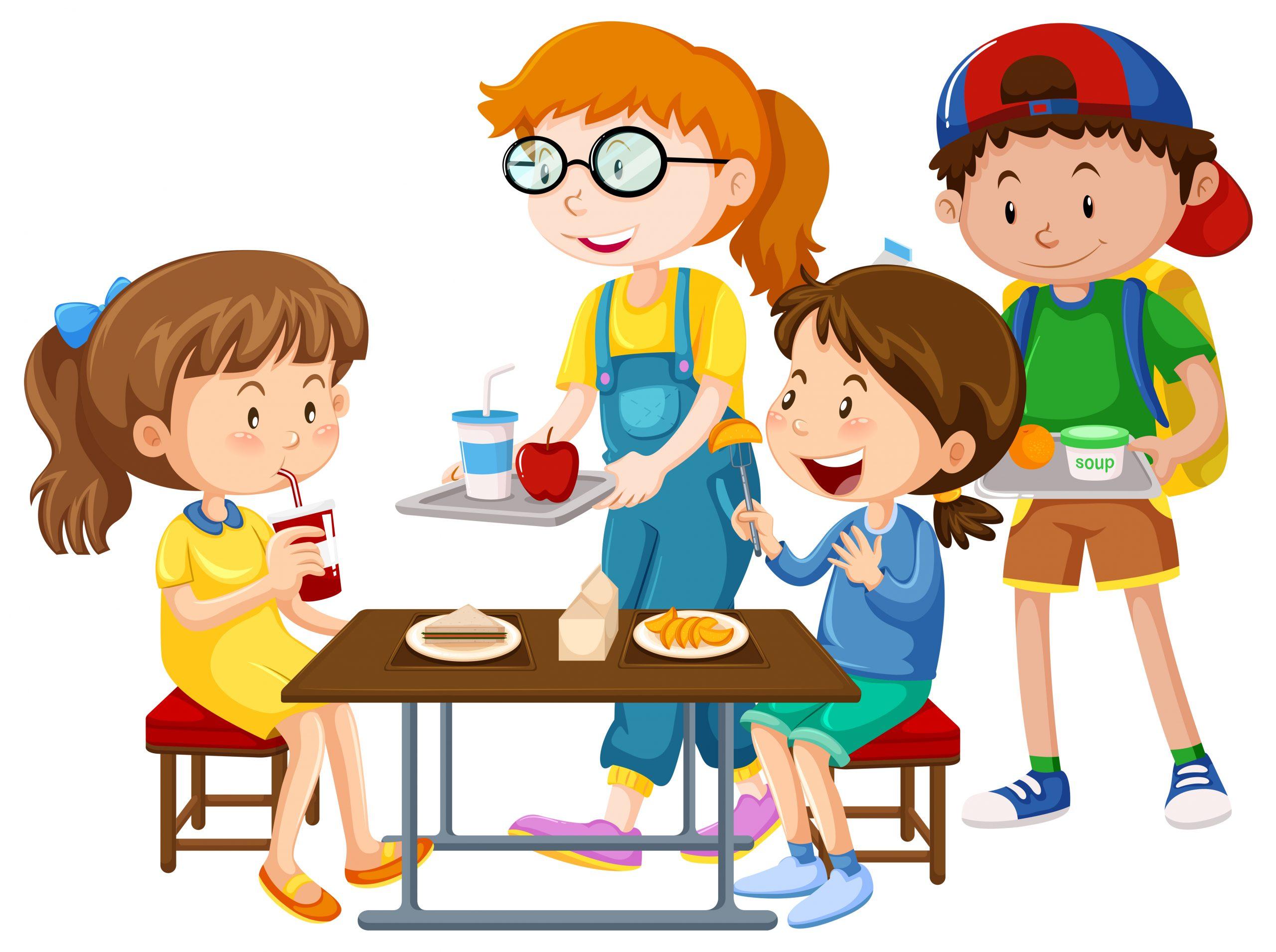 Children having meal at table illustration